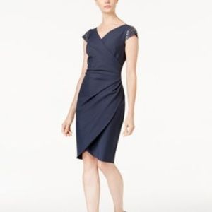 Alex Evenings Draped Sheath Dress  Beaded